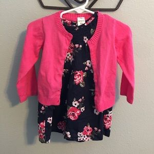 Floral Dress & Cardigan Set